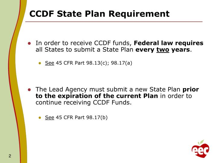 Ccdf state plan requirement