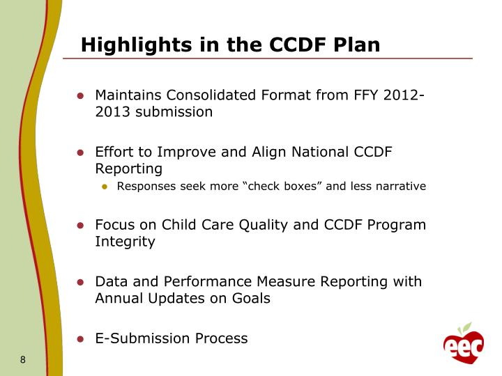 Highlights in the CCDF Plan