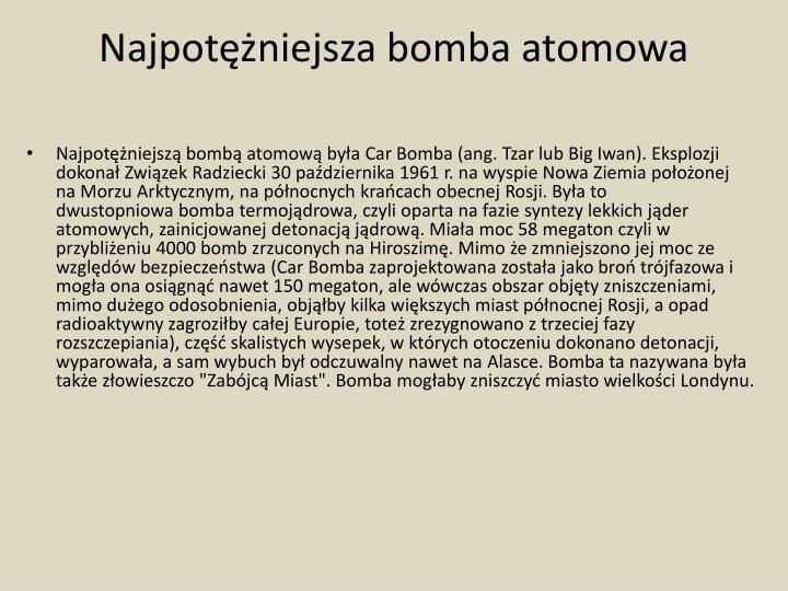 Najpotężniejsza bomba atomowa