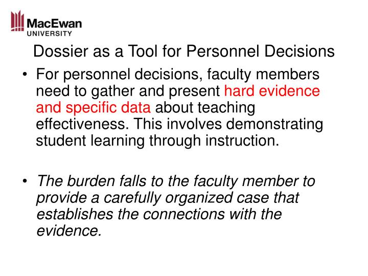 Dossier as a Tool for Personnel Decisions