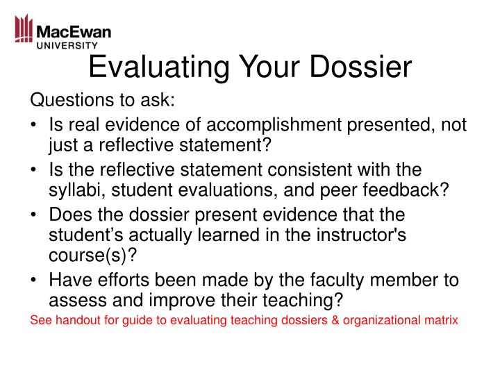 Evaluating Your Dossier