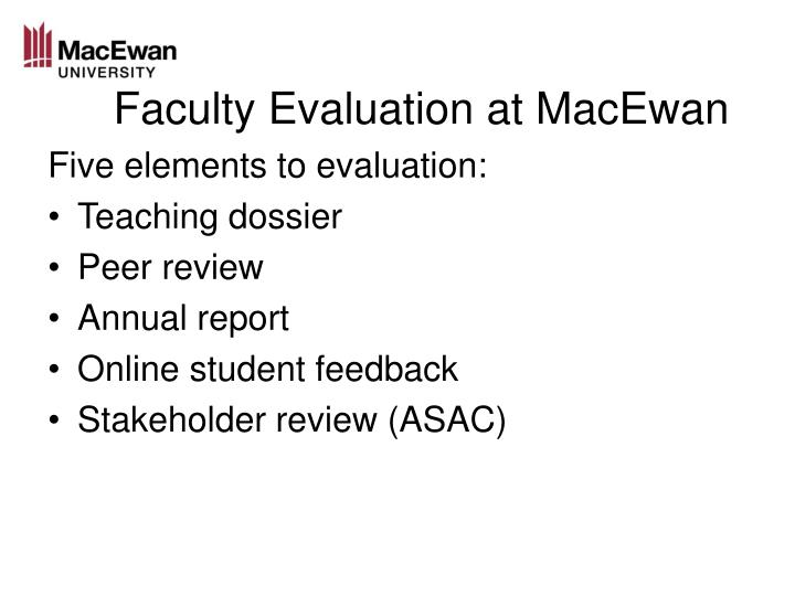 Faculty evaluation at macewan