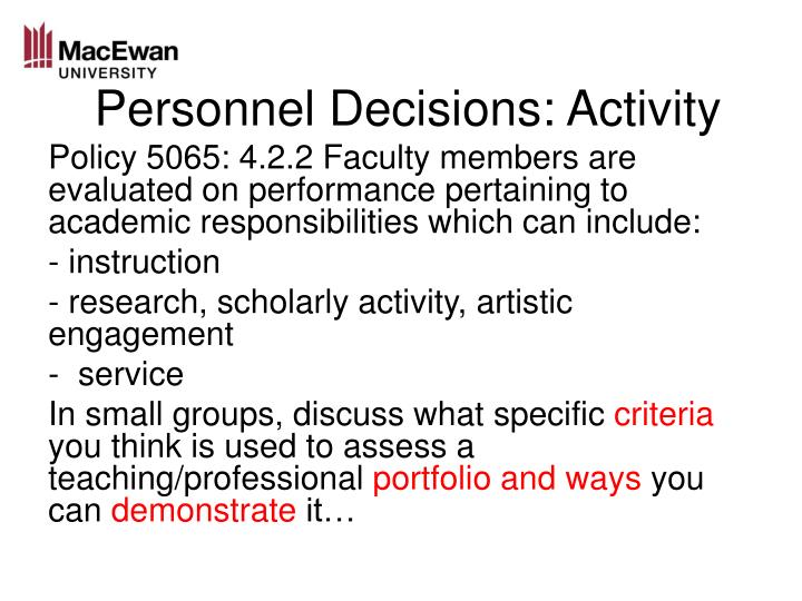 Personnel Decisions: Activity