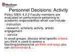 personnel decisions activity