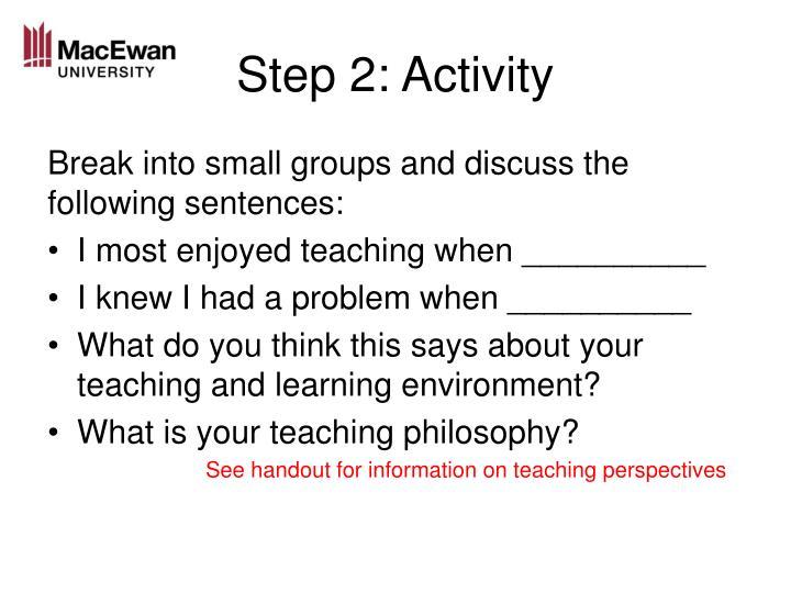 Step 2: Activity