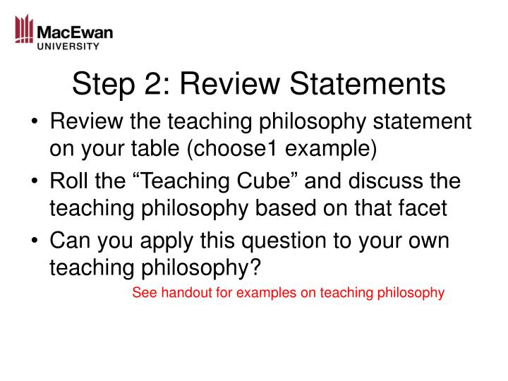 Step 2: Review Statements