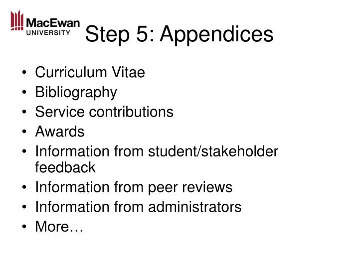 Step 5: Appendices