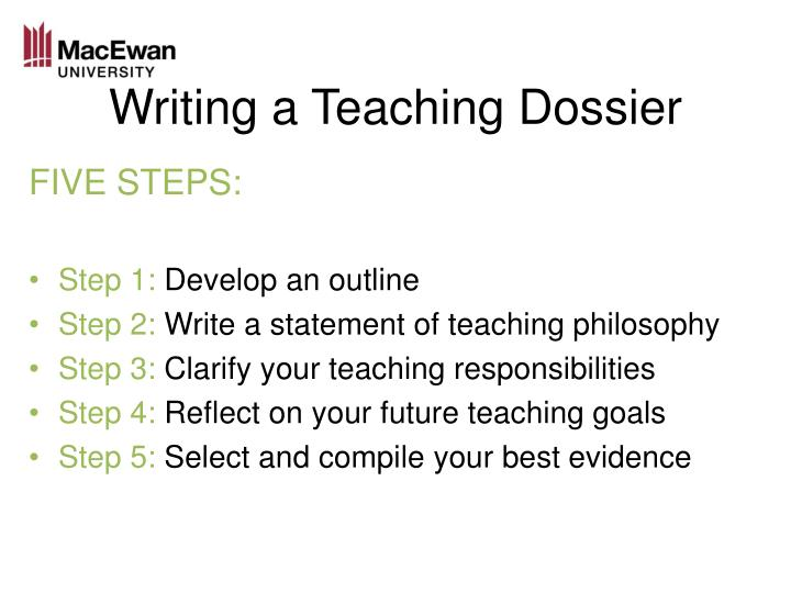 Writing a Teaching Dossier