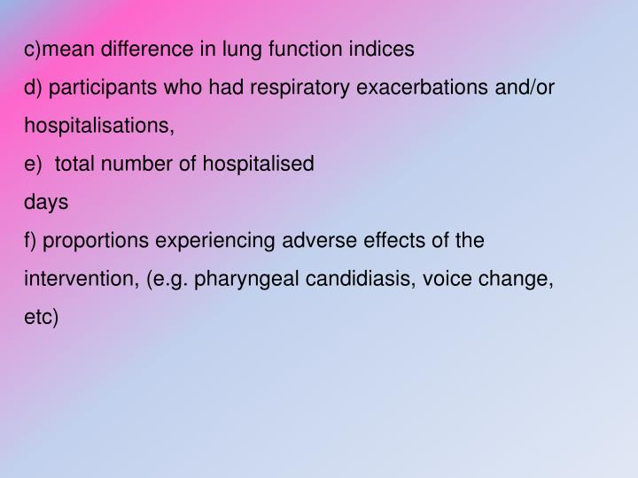 c)mean difference in lung function indices