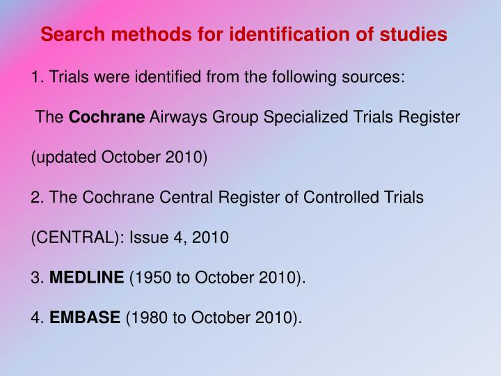 Search methods for identification of studies