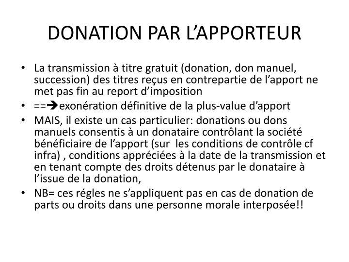 DONATION PAR L'APPORTEUR