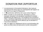 donation par l apporteur