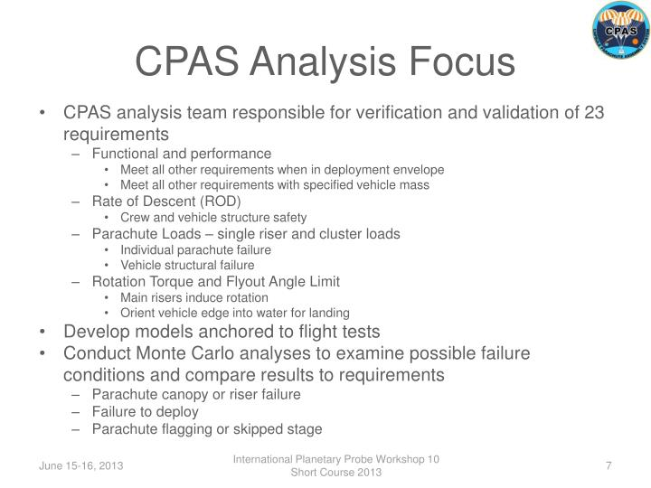 CPAS Analysis Focus