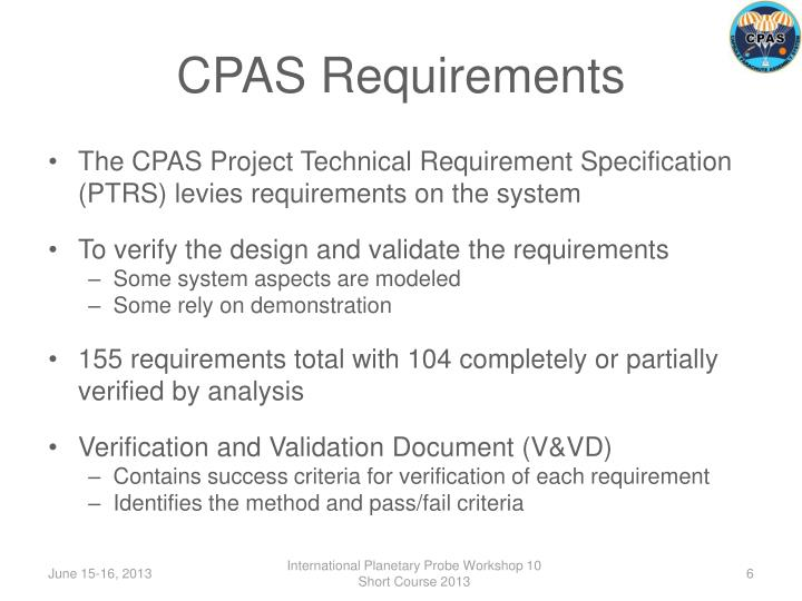 CPAS Requirements