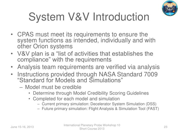System V&V Introduction