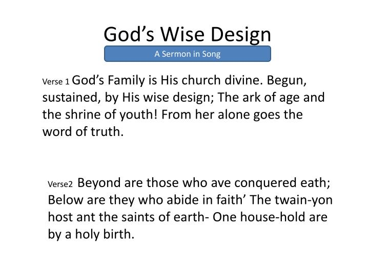 God s wise design1