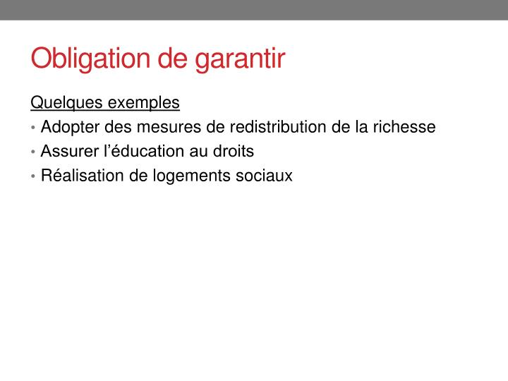 Obligation de garantir