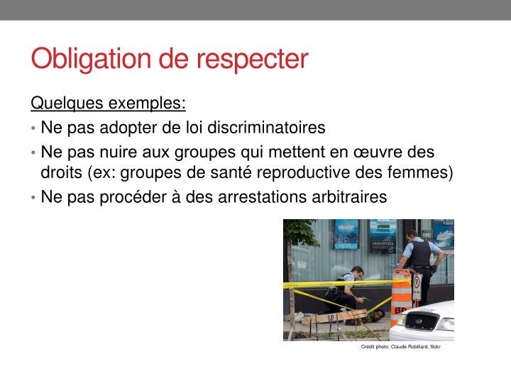 Obligation de respecter