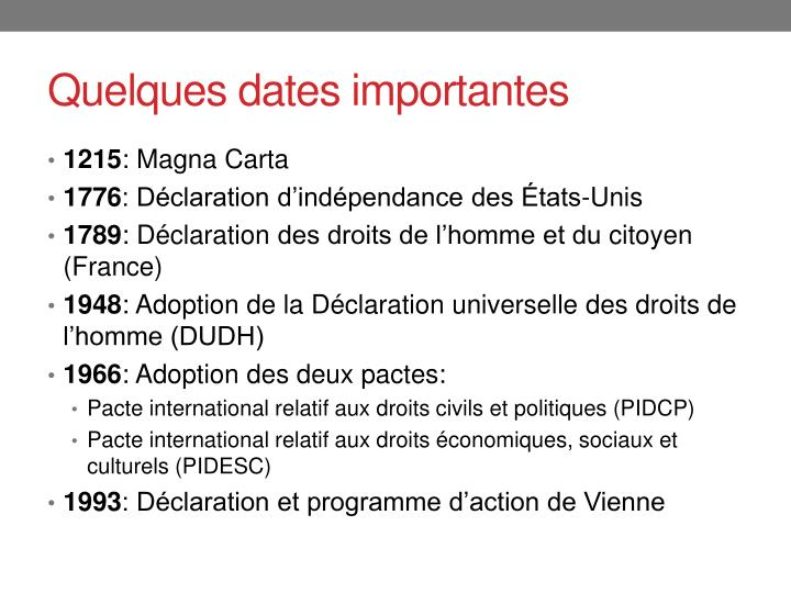 Quelques dates importantes