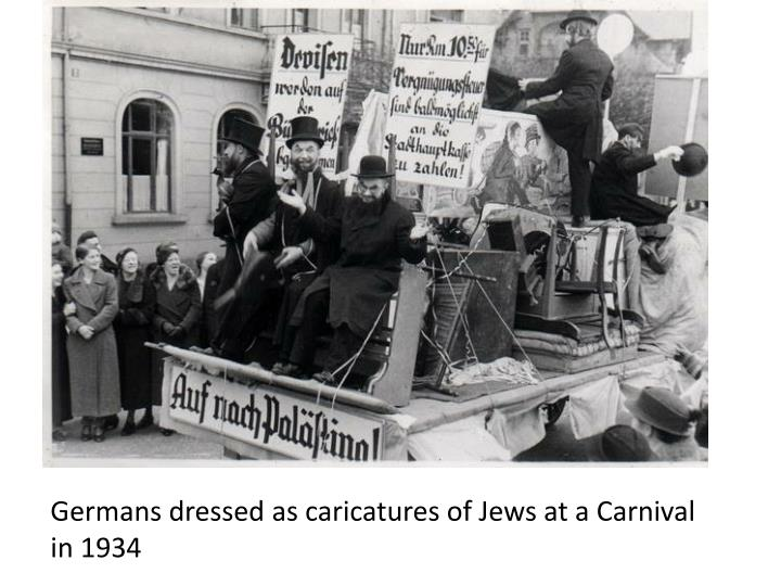 Germans dressed as caricatures of Jews at a Carnival in 1934