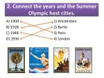 2 connect the years and the summer olympic host cities1