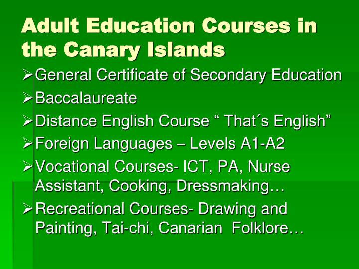 Adult Education Courses in the Canary Islands