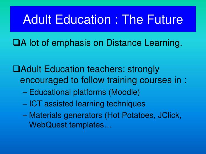 Adult Education : The Future