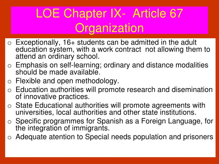 LOE Chapter IX-  Article 67 Organization