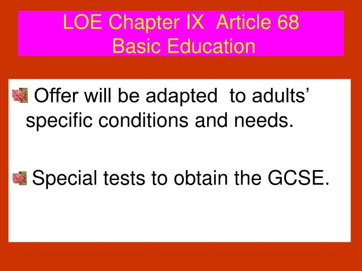 LOE Chapter IX  Article 68