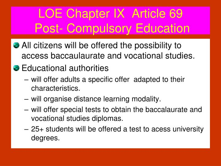 LOE Chapter IX  Article 69