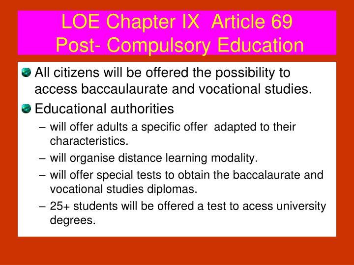 LOE Chapter IX  Article 69