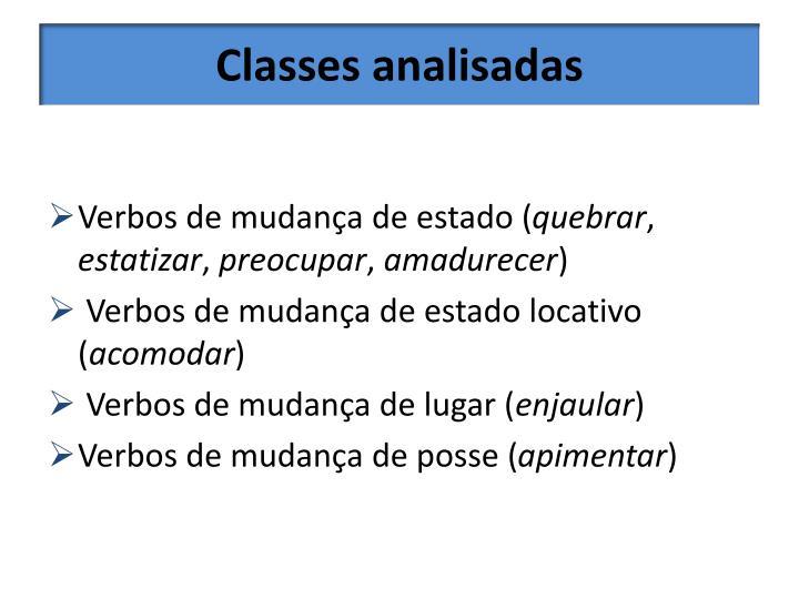 Classes analisadas