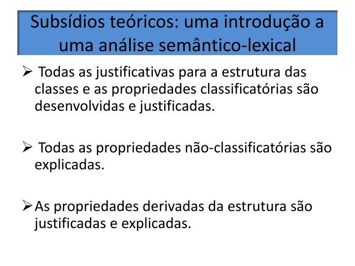 Subsídios teóricos: uma introdução a uma análise semântico-lexical