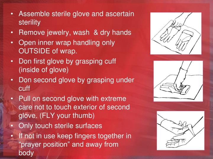 Assemble sterile glove and ascertain sterility