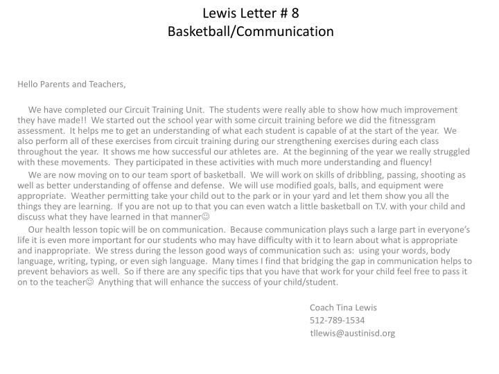 Lewis letter 8 basketball communication