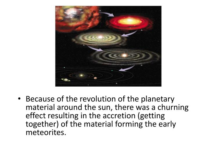 Because of the revolution of the planetary material around the sun, there was a churning effect resulting in the accretion (getting together) of the material forming the early meteorites.