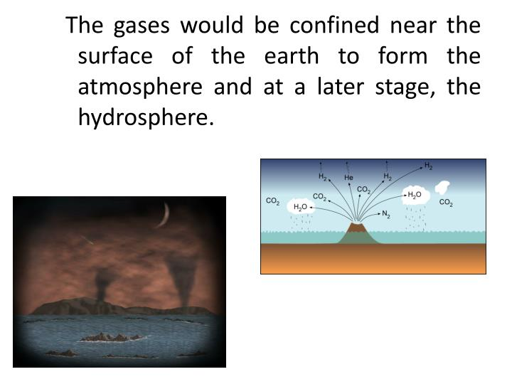 The gases would be confined near the surface of the earth to form the atmosphere and at a later stage, the hydrosphere.
