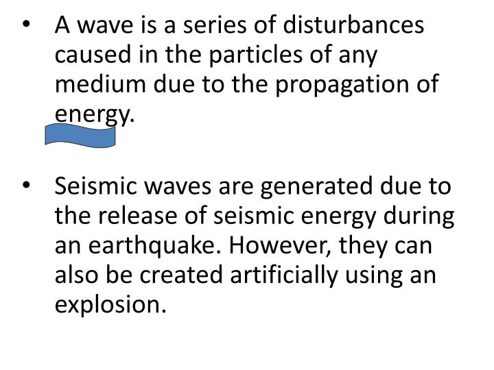 A wave is a series of disturbances caused in the particles of any medium due to the propagation of energy.