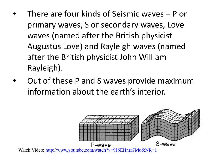 There are four kinds of Seismic waves – P or primary waves, S or secondary waves, Love waves (named after the British physicist Augustus Love) and Rayleigh waves (named after the British physicist John William Rayleigh).