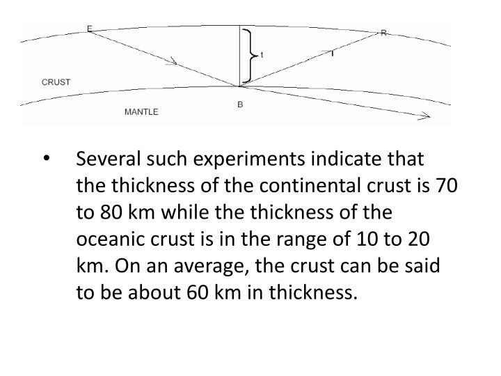 Several such experiments indicate that the thickness of the continental crust is 70 to 80 km while the thickness of the oceanic crust is in the range of 10 to 20 km. On an average, the crust can be said to be about 60 km in thickness.