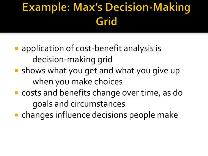 Example: Max's Decision-Making Grid