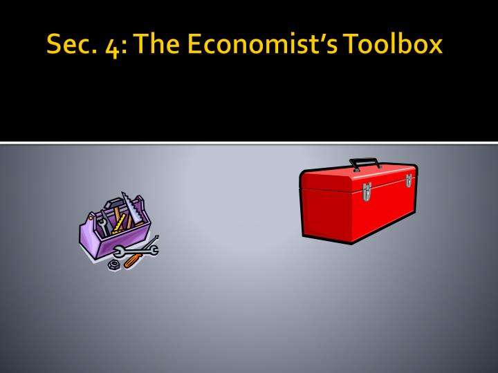 Sec. 4: The Economist's Toolbox