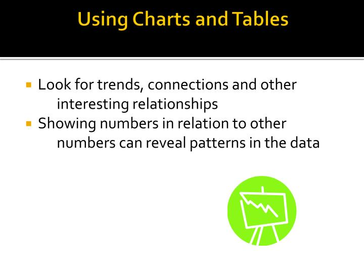Using Charts and Tables