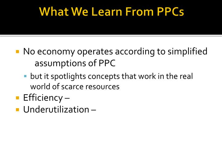 What We Learn From PPCs