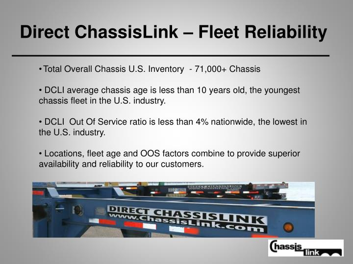 Direct chassislink fleet reliability