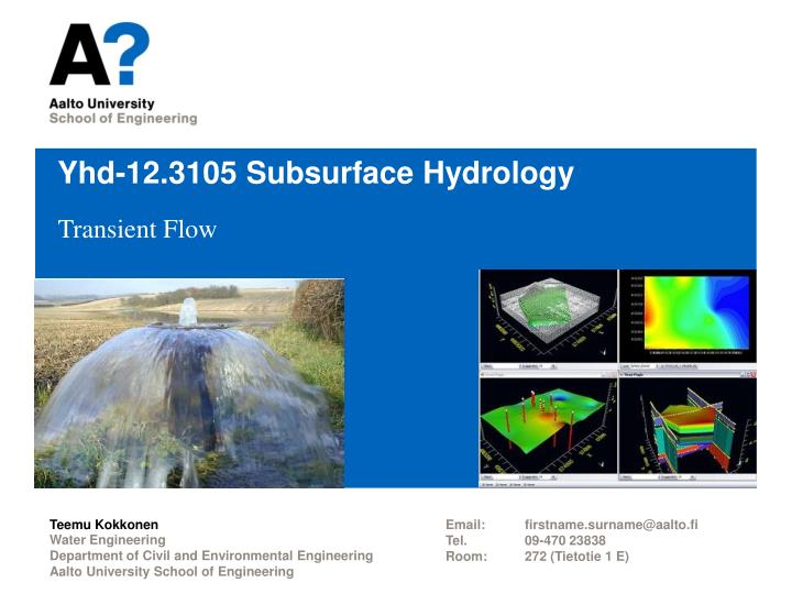 Yhd 12 3105 subsurface hydrology