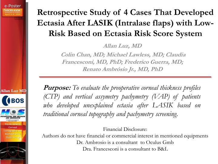 Retrospective Study of 4 Cases That Developed Ectasia After LASIK (Intralase flaps) with Low-Risk Ba...