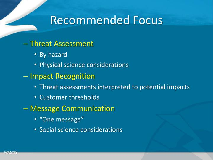 Recommended Focus