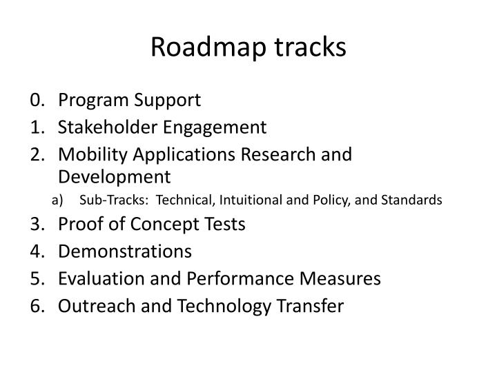 Roadmap tracks