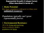 exponential growth j shape curve often described in terms of
